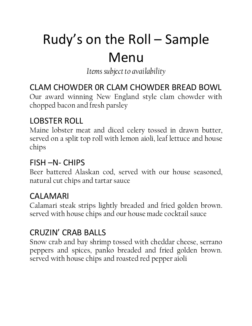 Rudy S On The Roll Food Truck